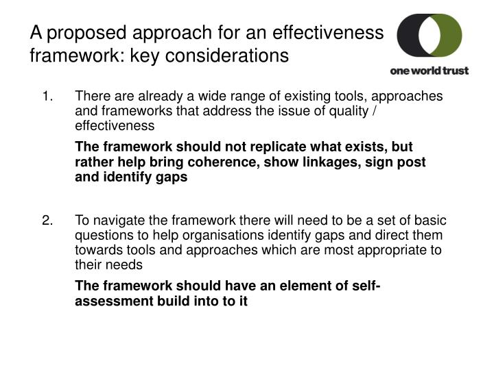A proposed approach for an effectiveness framework: key considerations