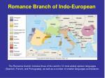 romance branch of indo european