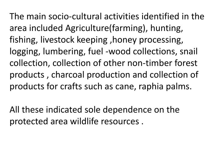 The main socio-cultural activities identified in the area included Agriculture(farming), hunting, fishing, livestock keeping ,honey processing, logging, lumbering, fuel -wood collections, snail collection, collection of other non-timber forest products , charcoal production and collection of products for crafts such as cane, raphia palms.