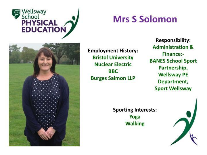 Mrs S Solomon