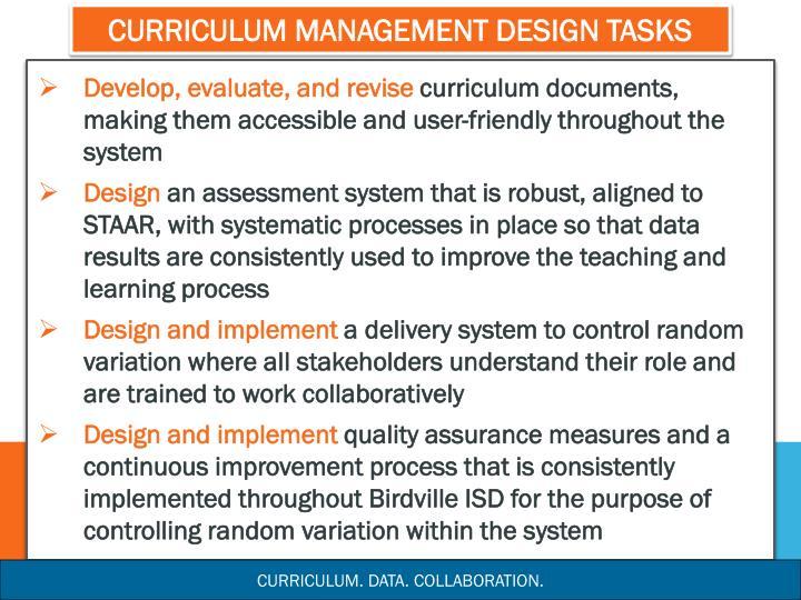 Curriculum Management Design Tasks