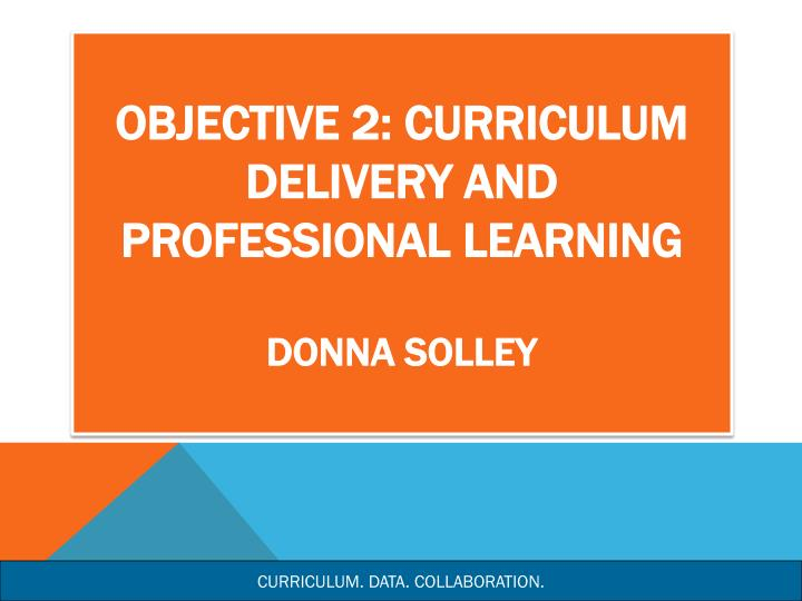 Objective 2: Curriculum Delivery and Professional Learning