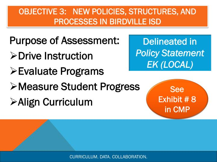 Objective 3:   New Policies, Structures, and Processes in