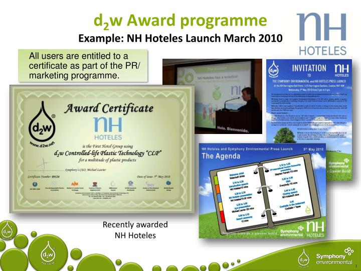 D 2 w award programme example nh hoteles launch march 2010