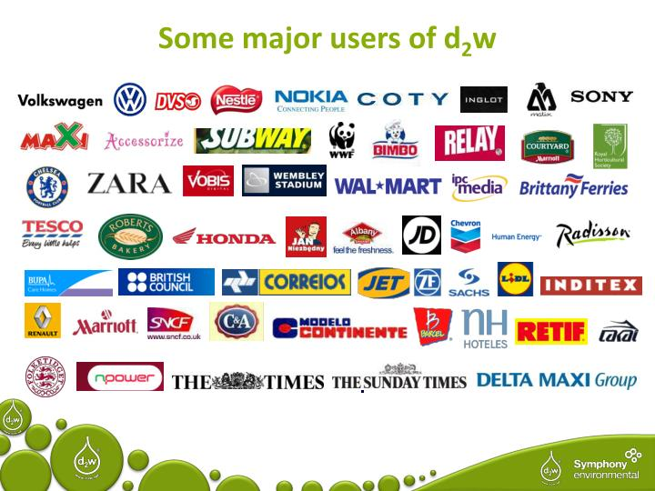 Some major users of d