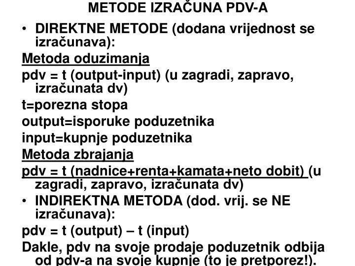 METODE IZRAČUNA PDV-A
