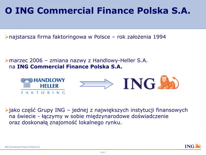 O ing commercial finance polska s a