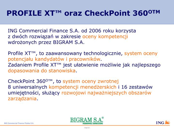 PROFILE XT™ oraz CheckPoint 360