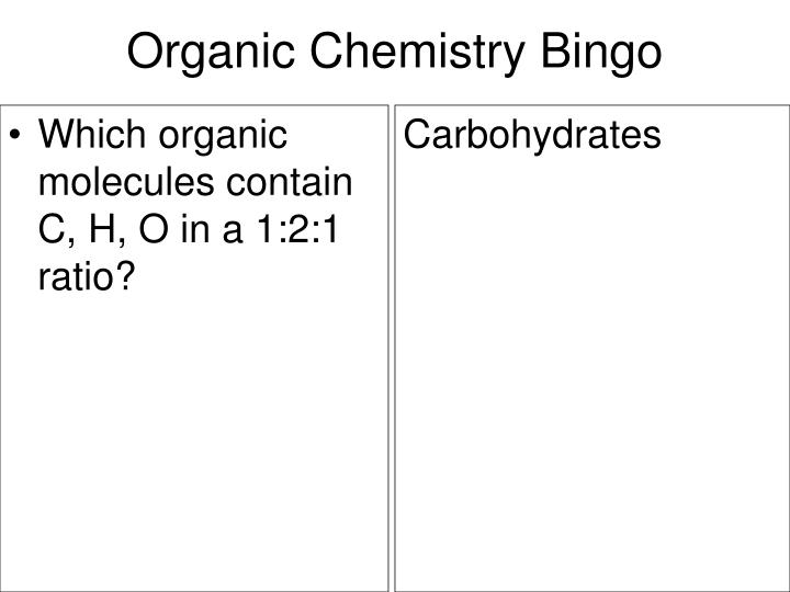 Which organic molecules contain C, H, O in a 1:2:1 ratio?