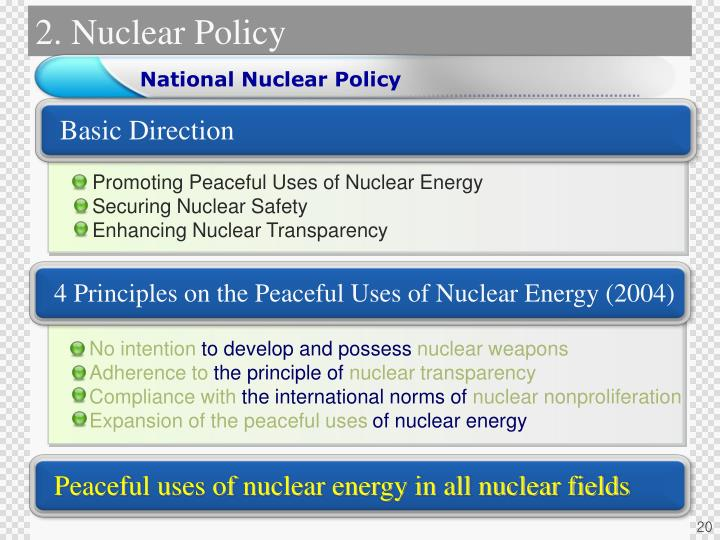 Peaceful uses of nuclear energy in all nuclear fields
