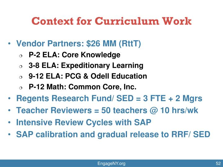 Context for Curriculum Work