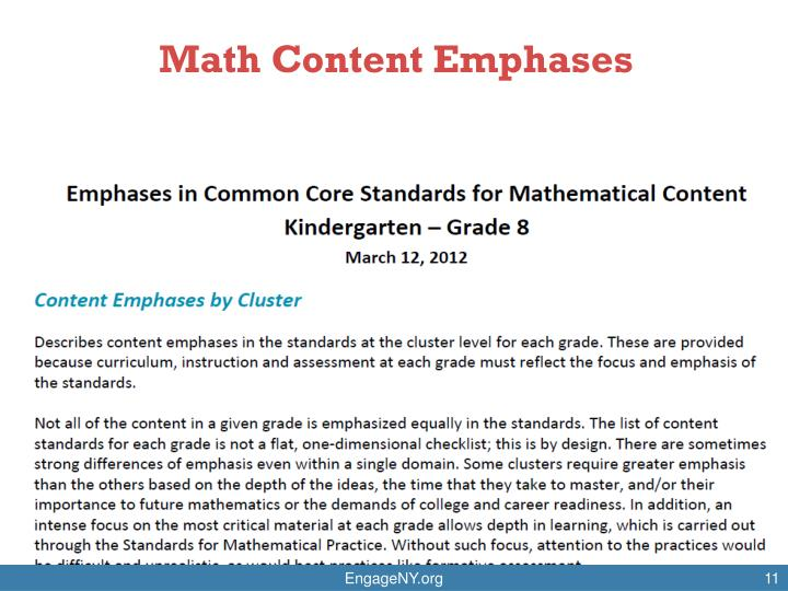 Math Content Emphases