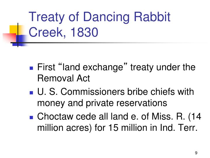 Treaty of Dancing Rabbit Creek, 1830