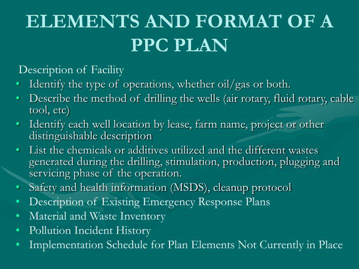 ELEMENTS AND FORMAT OF A PPC PLAN