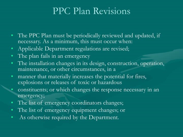 PPC Plan Revisions