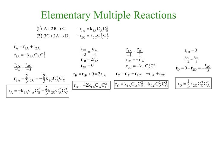 Elementary multiple reactions