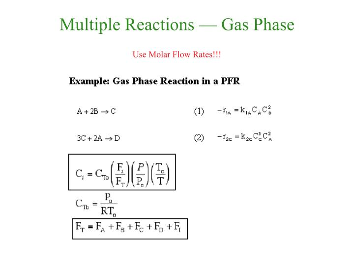 Multiple Reactions — Gas Phase