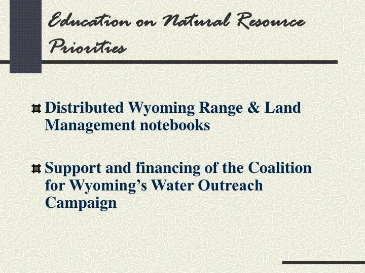 Education on Natural Resource Priorities