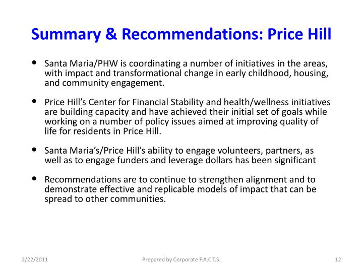 Summary & Recommendations: Price Hill