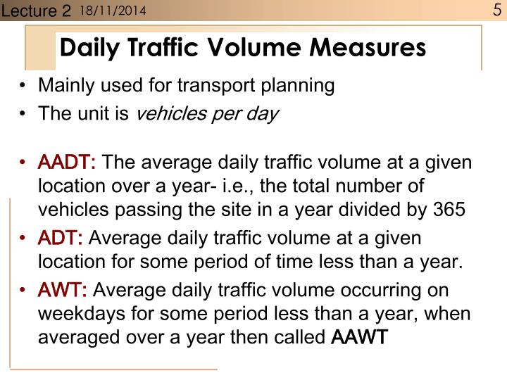 Daily Traffic Volume Measures