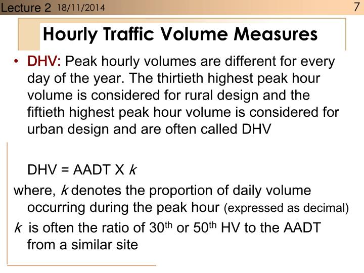 Hourly Traffic Volume Measures