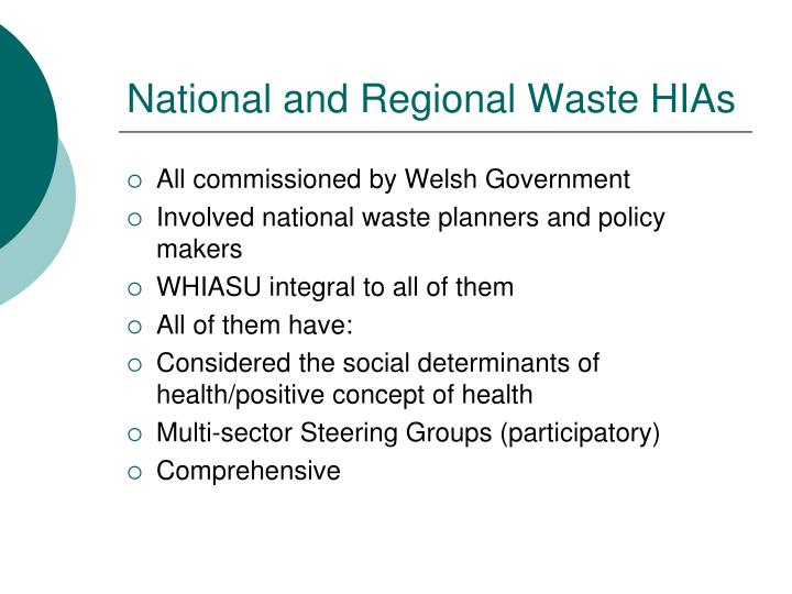 National and Regional Waste HIAs