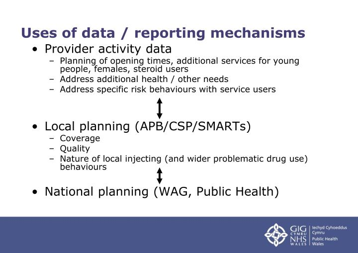Uses of data / reporting mechanisms