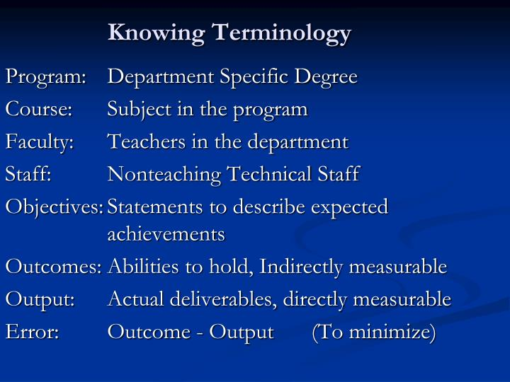 Knowing Terminology