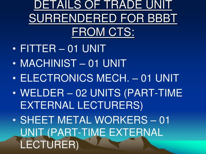 DETAILS OF TRADE UNIT SURRENDERED FOR BBBT FROM CTS: