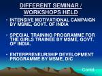 different seminar workshops held