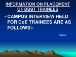 information on placement of bbbt trainees