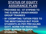 status of equity assurance plan