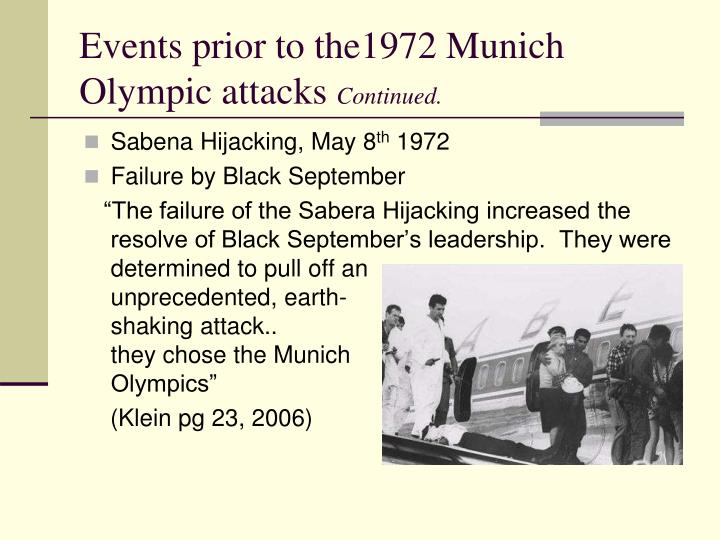Events prior to the1972 Munich Olympic attacks