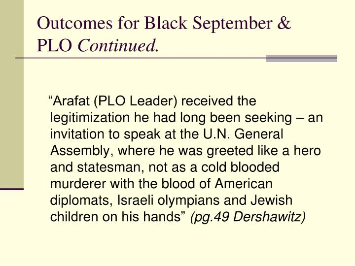 Outcomes for Black September & PLO