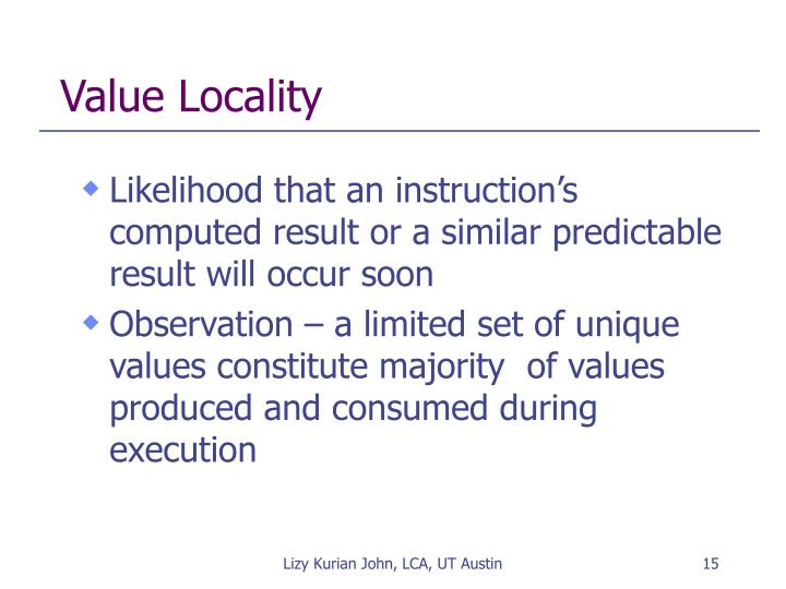 Value Locality