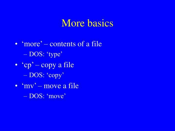 More basics