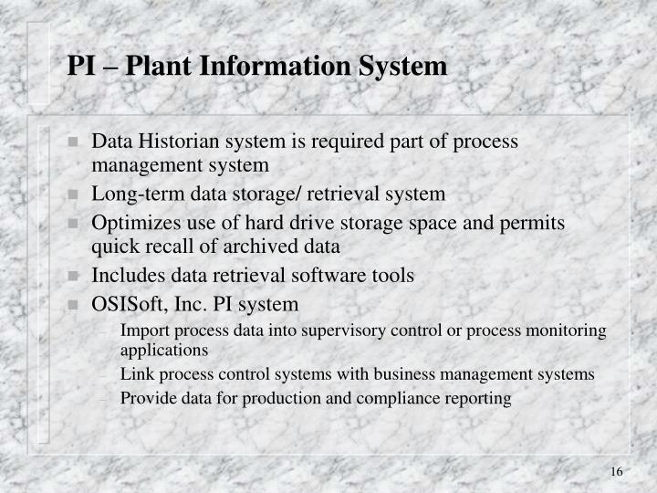 PI – Plant Information System