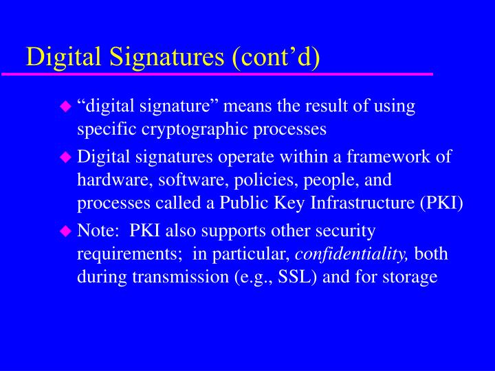 Digital signatures cont d