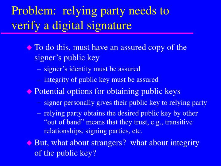 Problem:  relying party needs to verify a digital signature