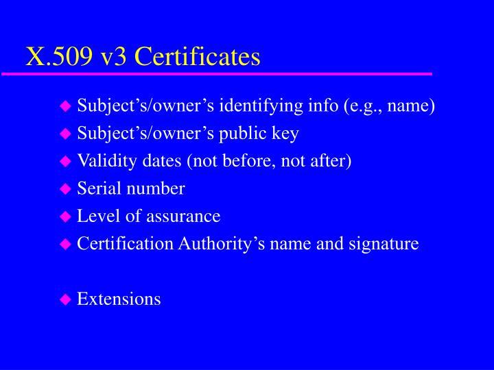 X.509 v3 Certificates