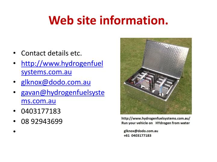 Web site information.