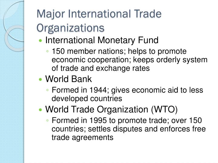 Major International Trade Organizations