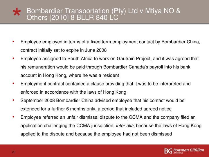Bombardier Transportation (Pty) Ltd v