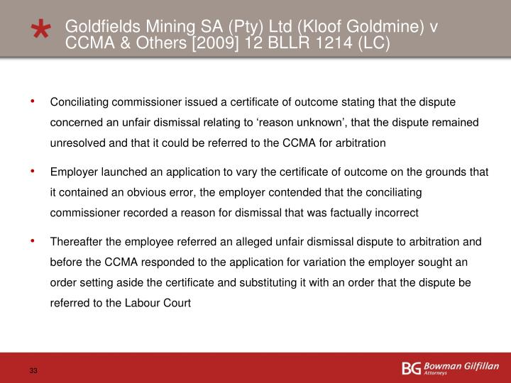 Goldfields Mining SA (Pty) Ltd (
