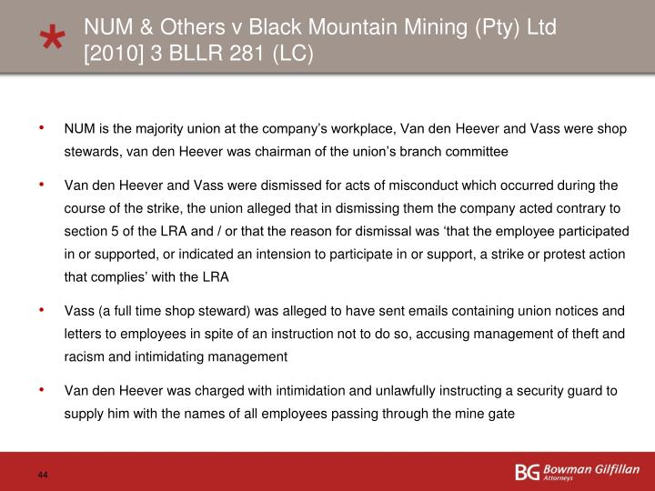 NUM & Others v Black Mountain Mining (Pty) Ltd [2010] 3