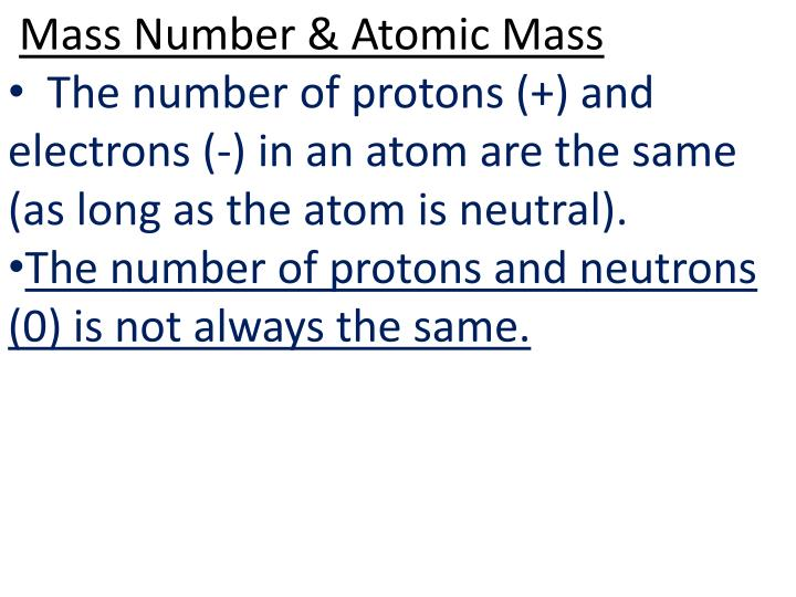 Mass Number & Atomic
