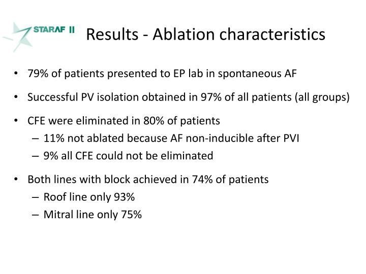 Results - Ablation characteristics
