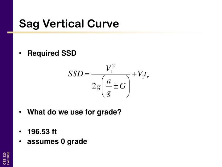 Sag Vertical Curve