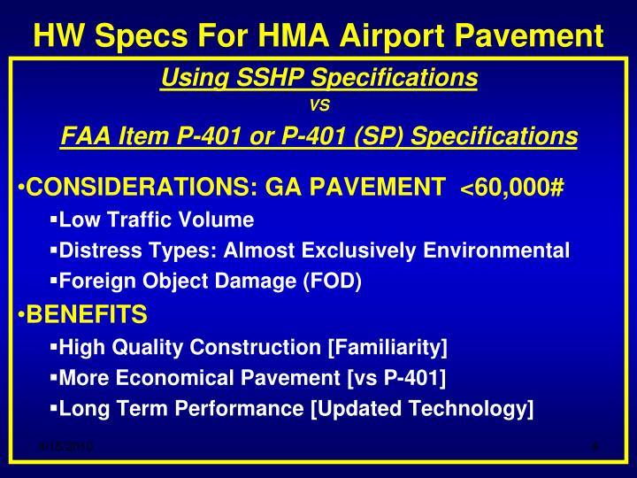 HW Specs For HMA Airport Pavement