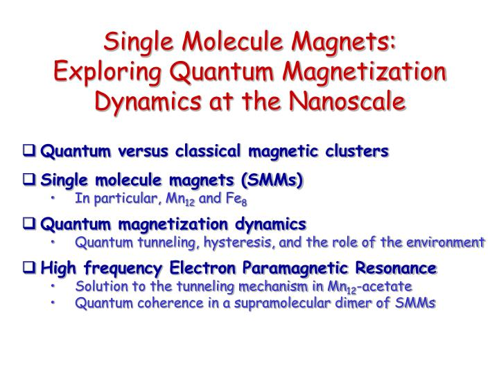 Single Molecule Magnets: